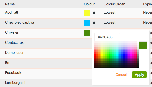 Tag colour picker